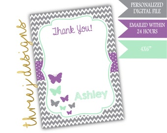Butterfly Baby Shower Thank You Card - Personalized - Gray, Lavender, and Mint - Digital File - J005