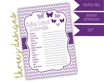 Butterfly Baby Shower Word Scramble Game - INSTANT DOWNLOAD - Plum and Lavender - Digital File - J004