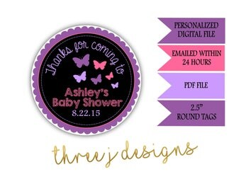 Butterfly Baby Shower Personalized Thank You Favor Tags - Purple and Pink - Digital File - J002