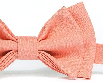 Salmon Coral Bow Tie (Peach Coral Bow Tie) & Salmon Coral Pocket Square  -- Baby Bow Tie, Toddler Bow Tie, Boy Bow Tie, Adult Bow Tie
