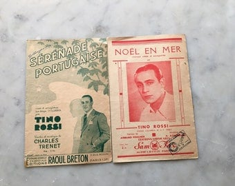 2 great song sheets sung by Tino Rossi in good vintage condition. Great for using or for paper project work for the music lover.