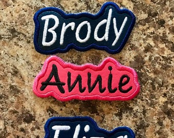 Iron On or Sew On Name Patch Appliqué - Custom - ANY Color - Personalized!