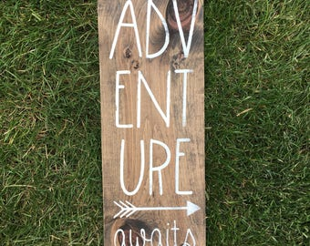 Adventure awaits sign | Woodland nursery | rustic nursery decor | country | childrens room decor | playroom | sign | baby shower gift |