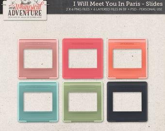 Paris digital download scrapbooking elements, French digital scrapbook embellishments, clip art, slides retro frames, romantic, love, travel