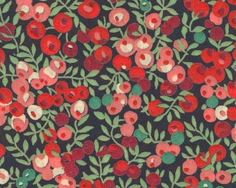 """Wiltshire J Liberty Fabric tana lawn scrap red green pink berries 10"""" x 15"""" square (25,4 cm x 38 cm) The Weavers Mill"""