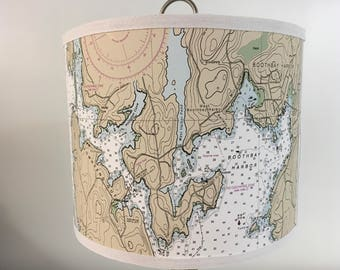 "Small Nautical Chart Lampshade - 8"" Round"