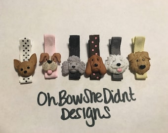 Six pack of doggie dog dogs clip barettes