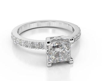 2.15 CT Women's Princess Cut Diamond Engagement Ring 14K White Gold F/SI1