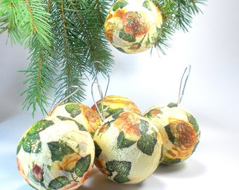 set of 6 christmas tree decor baubles shabby chic decor roses ornaments decoupage - Ornaments For Christmas Tree