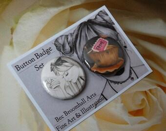 Alice In Wonderland Mini 30mm Button Badges Pack of 2  Eat Me