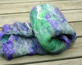 Fiber Batt - Hand Carded - Targhee, Merino, Flax, Bamboo, Soffsilk, Silk, Angelina - 4.5 ounce large batt - purple green-