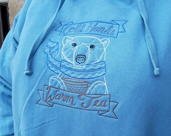 Unisex Hoodie With Cold Hands Warm Tea Polar Bear Embroidered Design