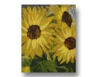 Art Print, Sunflowers, Printable Art, Digital Art, Instant Download, Wall Decor