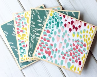 Watercolor Coasters, Wooden Coasters, Blue Coasters, Colourful Coaster, Colorful Coasters, Wooden Coaster Set, Wood Coaster