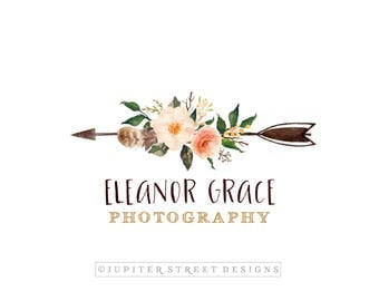 Logo Design-Arrow Logo-Flower Logo-Boho Logo-Photography Logo-Small Business Logo