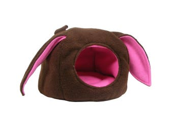 Cuddle Cup - Cuddle Cave - Bunny Ears - Rat Bed - Guinea Pig Bed - Hedgehog Bed - Ferret Bed - Pink and Brown Fleece - Cage Accessories