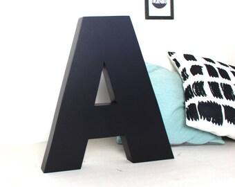 Lettre en bois géante  A noir mat  laqué - lettre géante - lettre à poser - mylittledecor - initiale - lettre en bois