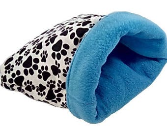 """Large 25"""" x 29"""" pawprint dog bed or cat bed, plush, reversible, 3 layers, blue"""