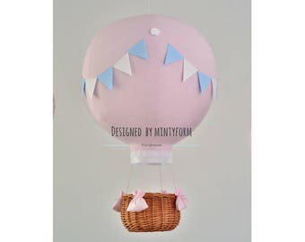 Big Hot Air Balloon with wicker basket. Choose your Size and colors.Balloon - SIZE L - 55 cm (22 inch) or SIZE M 45 cm (17 inch)