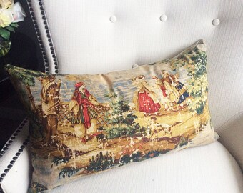 Toile Pillow cover, Cushion, Designer decorative pillow, Accent Pillow cover, 14 x 26 pillow cover, Home Decor, Home furnishing
