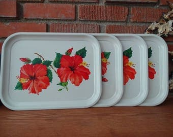 Set of 4 Vintage Hibiscus Trays, Metal Serving Trays, Red Tropical Flowers, Perfect for Luncheons, Red Hawaiian Hibiscus, Mid Century Dining