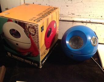 Vintage Panasonic R-70 AM transistor radio blue 1960's trinket box