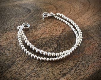 silver bracelet silver beads  925 sterling
