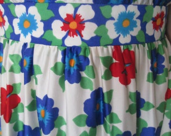 Vintage 1950-60's Hand Crafted Dress Blue Red White Flowers Sleeveless Size 7-8