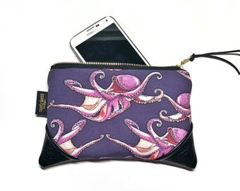 Mini Tako (Octopus) Dance Zipper Pouch / Mini Clutch with inside lining and Suede Zipper Pull or Leather Wristlet Strap
