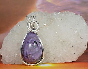 Charoite Tear Drop Wire Wrapped Pendant - It cleanses the aura and chakras