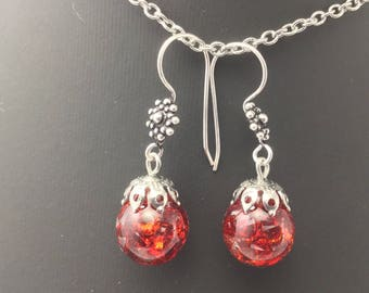 Red zirconiums bubbles Earrings: resin and small Ruby Red zircons, 925 sterling silver mounts.