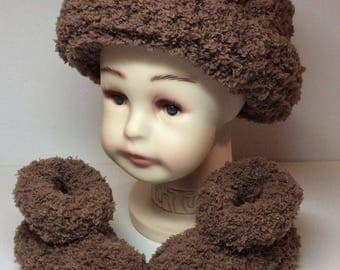 Ultra Soft Hand Knit Baby Hat and Booties Set, Brown