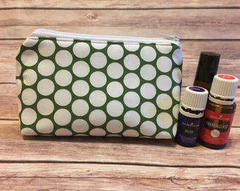 Green polka dot oil bag, essential oil bag, oil bag, essential oil case, essential oil storage, essential oil case, travel bag, zipper