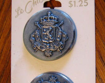 Vintage Le Chic Buttons on Card Nautical Lion Coat of Arms Heraldic Set of 2