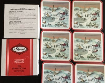 """6 Pimpernel Acrylic Coasters """"White Christmas"""" in Original Box Made in England"""