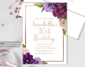 Purple Birthday Invitations / Thirtieth Birthday / Purple Flowers, Anemone, Peony Ranunculus, Rose Gold ▷ Printed Heavy Paper {or} Printable