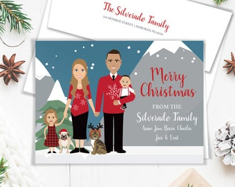 Family Portrait Holiday Card / Christmas Card Portrait, Pug and Tabby Cat Pet Portrait Illustration ▷ Printed Heavy Paper {or} Printable