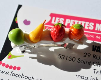 Barrette gourmet vitamin fruity 4 cm strawberry, orange and Apple and PEAR
