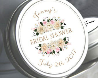 12 Bridal Shower Mint Tins, Personalized Mint Favor Mint to Be Wedding Favor Personalized Bridal Shower Favor, Mint Tin Favors. White Roses