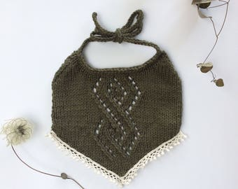 Green Knit Bib