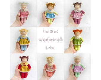 "7"" (18 cm) small Waldorf doll. 8 colors. Pocket doll-Steiner doll-cloth doll-handmade doll-soft doll-waldorfpuppe-rag doll-birthday gift"