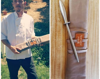 7 slot Knife roll, knife case, chef case, chef roll (personalized with initials or name) *TAUPE*