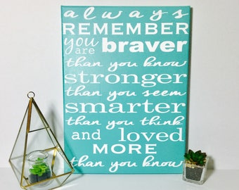 Nursery decor - Winnie the Pooh quote - painted canvas sign - ready to ship - baby shower gift