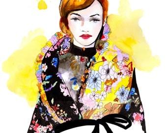 Preen by Thornton  Fall 2017 Art Print Fashion Illustration, Fashion Sketch, Fashion Art, Watercolour Illustration