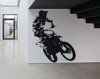 Wall Sticker Decal Motorcycle Dirt Bike Sport Motocross Chopper Ride Children Guys Boys Bedroom 1611b