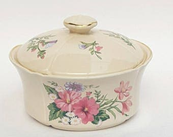 Royal Winton Coloroll Butter Dish, Jam Pot, Covered Butter Dish, Lidded Butter Dish, English China, Ceramic Butter Dish
