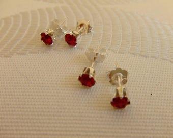 Bullet earrings in 925 sterling silver and swarovski crystal