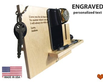 Gift for husband,Personalized Boyfriend Gift, iphone 7, Docking station, Wood Stand