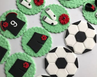 "football cupcake toppers 12pcs 2.5"" edible soccer theme edible fondant cup cake toppers sports ball sports party birthday cupcake topper"