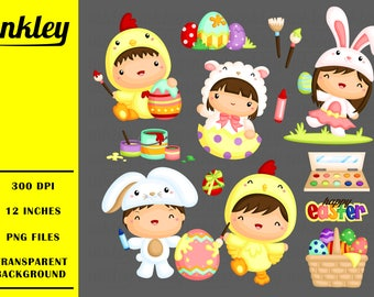 50%OFF!! Cute Kids in Easter Costume Clipart - Cute Clipart, Fun Clipart, Clipart Set, Adorable Digital Clip Art